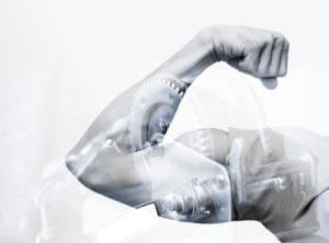 Double exposure abstract conceptual power photo collage, strong male hand showing biceps and industrial mechanism background, mpa, MotivationsPotenzialAnalyse