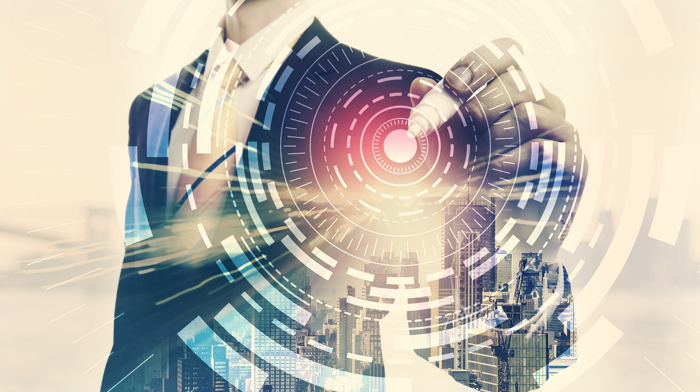 Digital Tech Circle with double exposure of businessman and big city